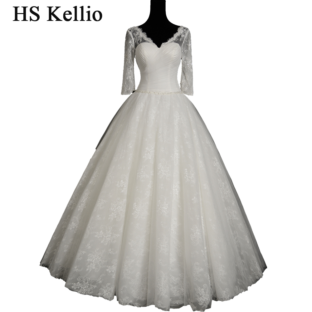 HS Kellio Elegant Lace Long Sleeve Wedding Dress Vestido De Novia Vneck Princess Bridal Dresses 2019