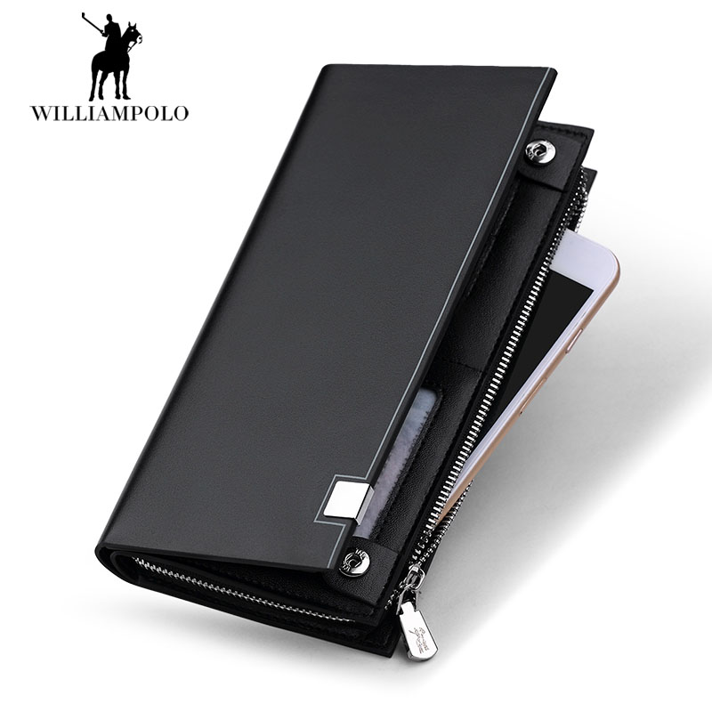 WilliamPOLO 2018 New Fashion Men Cow Leather Wallet Brand Men Wallet Long Design Phone Holder Card Purses Men Black POLO212 williampolo 2017 card wallet men 10 card slots genuine leather button closure fashion long men wallet polo174