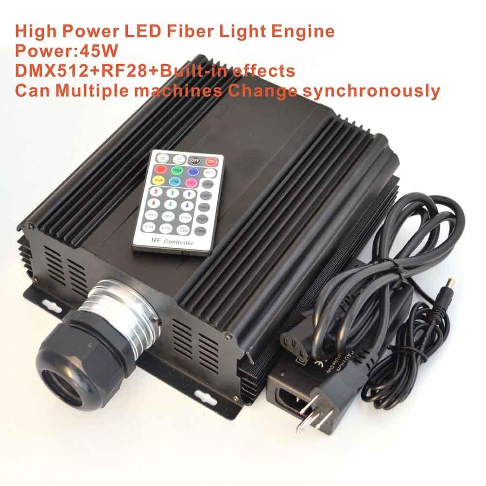 45 Вт led dmx оптического волокна двигатель, AC85-260V вход; dmx512 совместим РФ RGB высокой мощности света ...