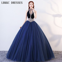 Halter Navy Blue Quinceanera Dresses Sleeveless Ball Gown Velour Tulle Beads Vestidos De 15 Anos Vestido Debutante Ball Dress