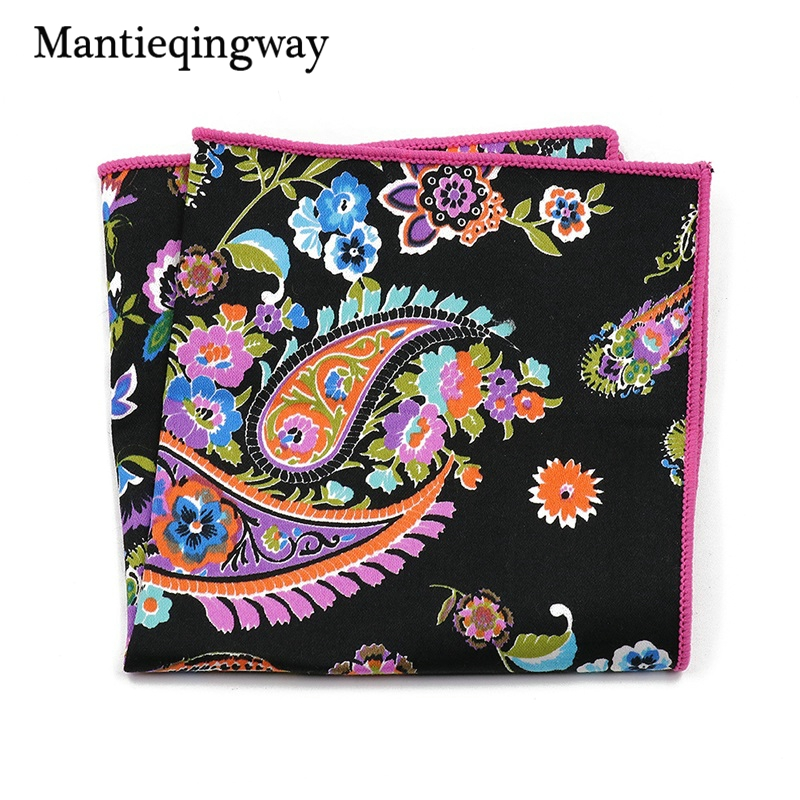 Mens Handkerchiefs Pocket Style Floral Handkerchief Cotton Mens Suit Pocket Squares Wedding Square Paisley Hanky