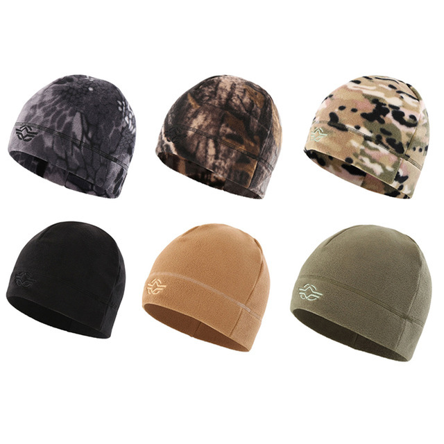 5bf9d0643e4 56-60cm Outdoor Training Camouflage Thermal Windproof Fleece Hat Men Winter  Cycling Camping Hunting Thick