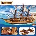 857 unids grande barco pirata ladrillos educativos bloques huecos de grandes buques de pesca de los niños juguetes brinquedos leping diy