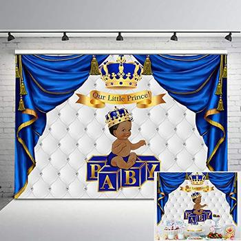 Neoback Royal Baby Shower Backdrop Ethnic Little Prince Gold Grown Photo Background Blue and Sliver Backdrops Decorations