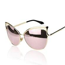 2017 Fashion Cat Eye Rose Gold Mirror Sunglasses Women Brand Designer Metal Frame Lady Sun Glasses  Cateye Female