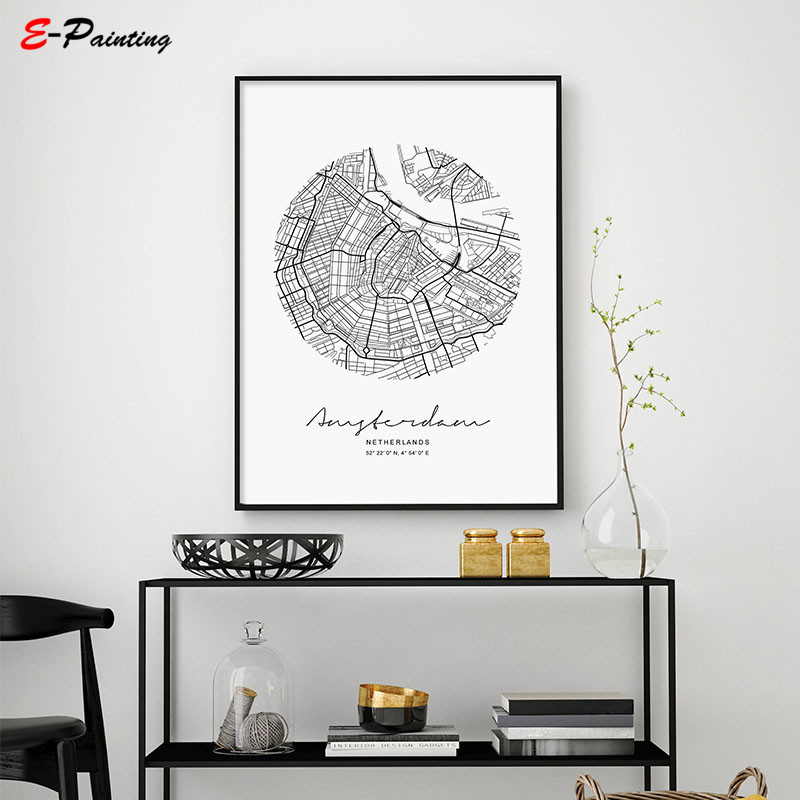 Poster Circle Amsterdam City Map Canvas Painting Modern Print Poster Wall Art Living Room Home Decor Nordic Style Poster Picture