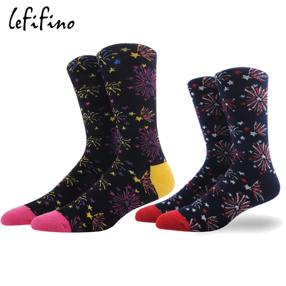 Colorful Firework Men Socks Cotton Creative Cool Dress Happy Fashion Socks Long Harajuku Funny Novelty Skateboard Socks Ne75630