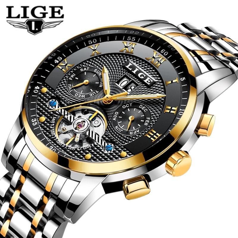 Reloj de pulsera esqueleto para hombre 2019 LIGE, reloj mecánico automático Tourbillon de acero, reloj deportivo de moda, reloj deportivo-in Relojes mecánicos from Relojes de pulsera    1