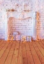 Lareira Laeacco Colorido Lanterna Presente de Natal Backdrops Para Estúdio de Fotografia Fotografia Fundos Fotográficos Personalizados