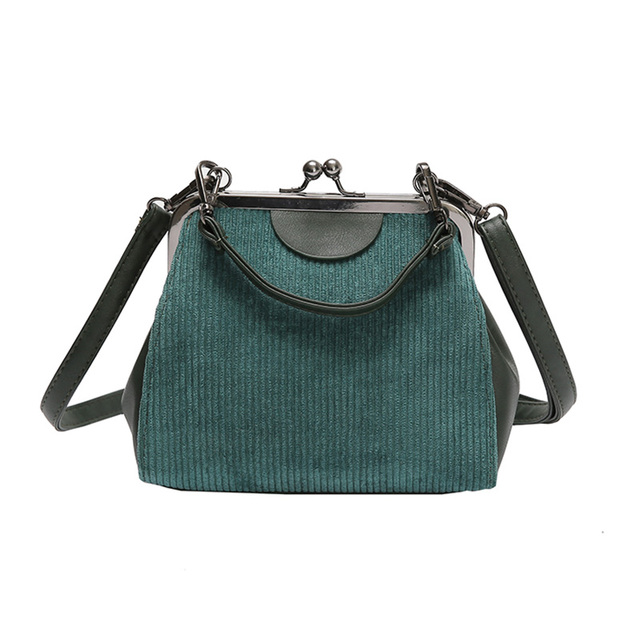Striped Corduroy Women Messenger Bags Brand New Retro Shell Handbag Small Shoulder Bag High Quality Tote