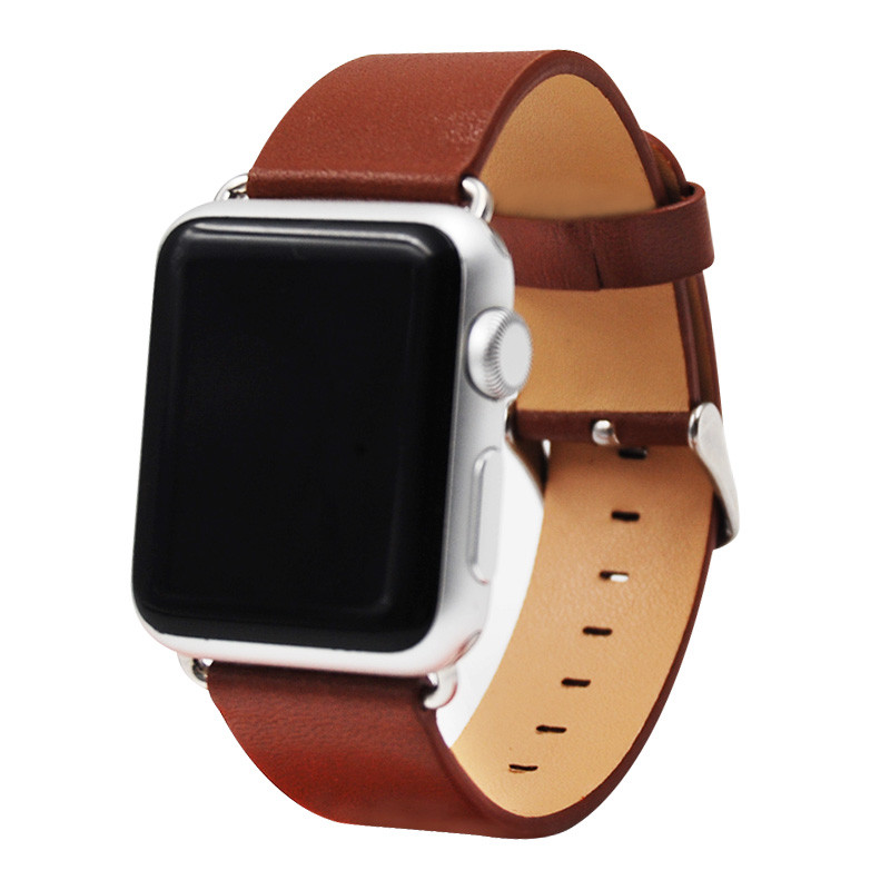 Straps For Apple Watch Band Genuine Leather Replacement Watchband Stainless Metal Clasp For iWatch Series 1 2 Pink Red Brown croco pattern genuine casfskin 19mm 20mm 22mm replacement watchband watch straps for brand watch