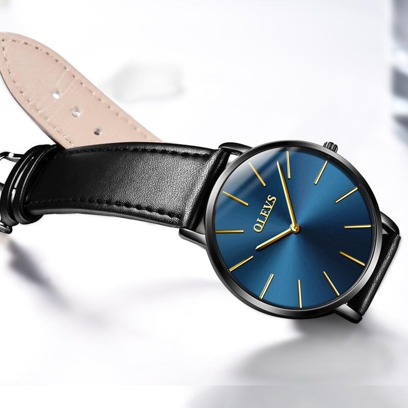 2018 OLEVS Brand Ultra thin Watch Mens Fashion Casual Sport Watches Men Waterproof Leather Slim Quartz Clock Relogio Masculino