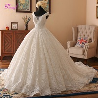 Fmogl Sweetheart Neck Sequined Beaded Ball Gown Wedding Dresses 2019 Glamorous Chapel Train Lace Wedding Gown Vestido de Noiva