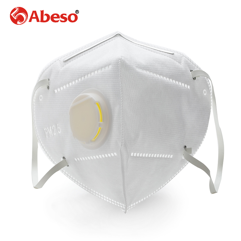 ABESO vertical folding white nonwoven valved dust filter masks PM2.5 disposable respirator mask breathing mask with valve AN9501 50pcs high quality dust fog haze oversized breathing valve loop tape anti dust face surgical masks