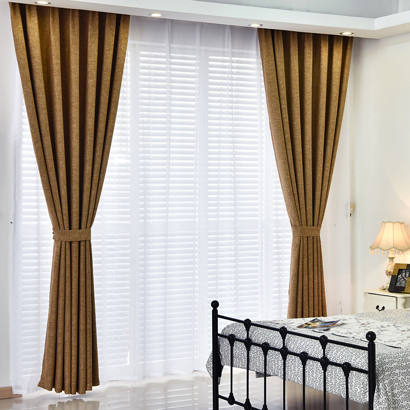 ZHH Darkening Solid Thermal Insulated Blackout Curtains Heat Soundproof Window Drape Blinds Panel for Bedroom Living Room