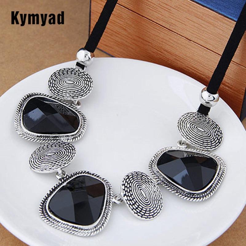 Kymyad Винтаж колье себе Цепочки и ожерелья Для женщин Bijoux веревку цепи смолы геометрический Ожерелья и подвески большой коренастый Ожерелья для мужчин