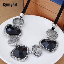 Kymyad Vintage Choker Statement Necklace Women Bijoux Rope Chain Resin Geometric Necklaces Pendants Big Chunky Necklaces