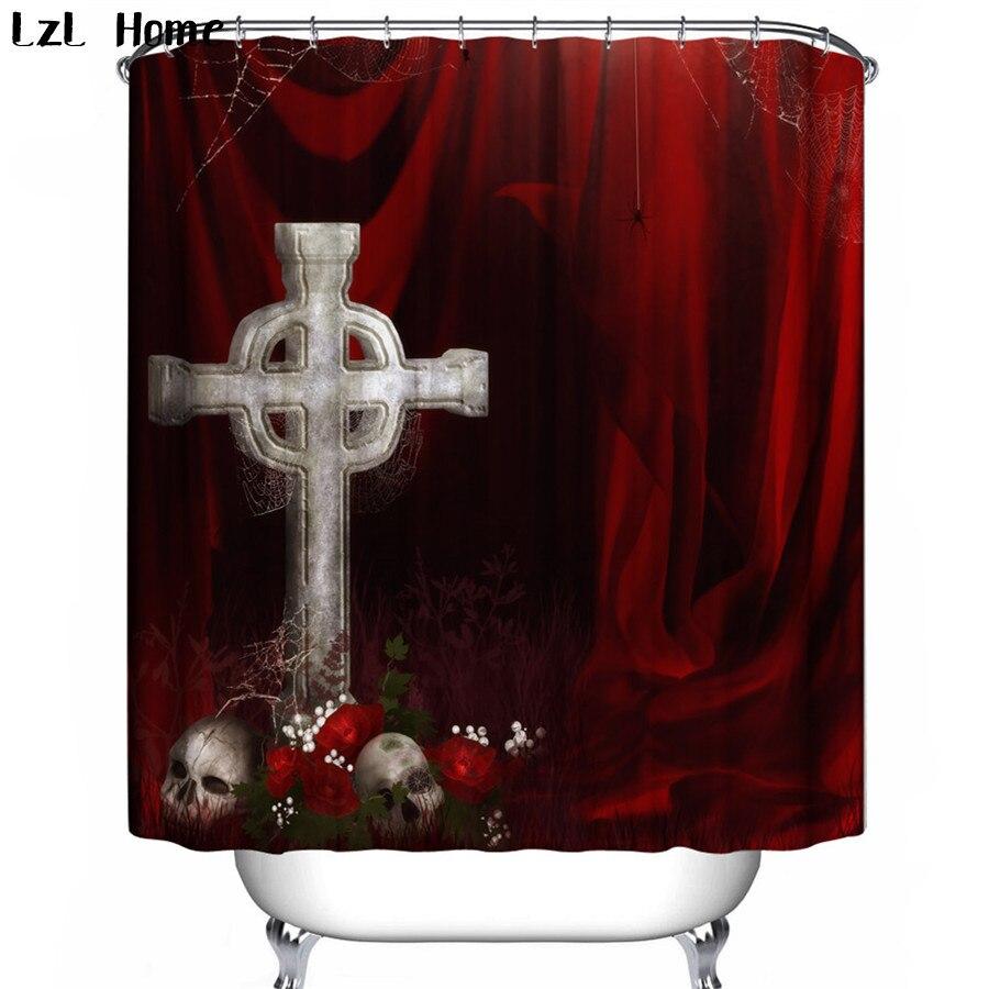 LzL Haus Wasserdicht Duschvorhang 3d Schädel Kreuz Spide Custom Design  Halloween Bad Vorhang Baden Für Halloween Dezember