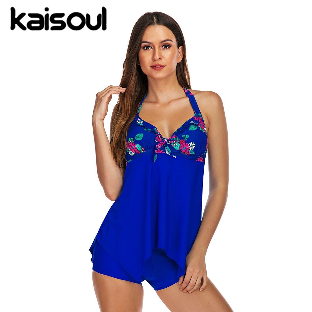 Sexy Bikini Swimwear Two Pieces Women Swimsuit Plus Size Push Up Print Swimming Beachwear New Arrival Vintage Padded Blue Halter