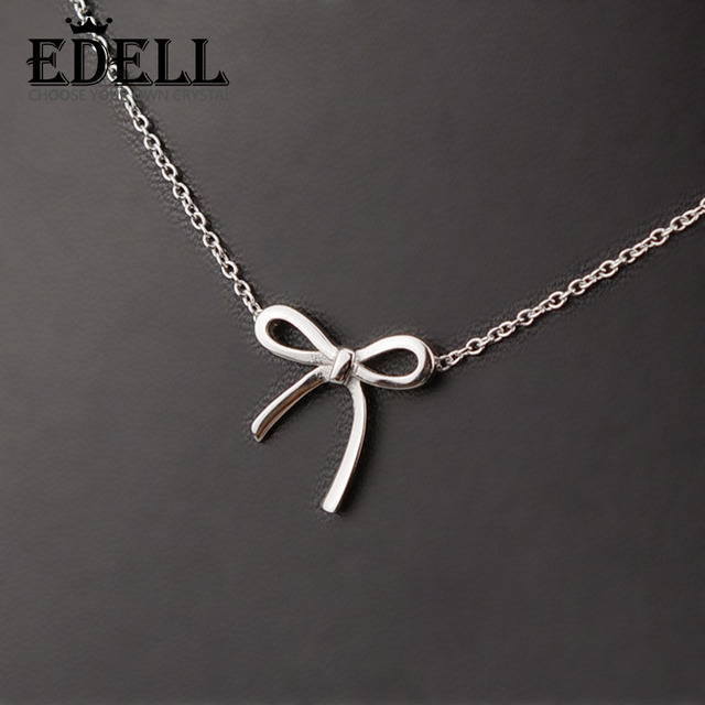 Edell 100 925 sterling silver bowknot bow necklaces sterling edell 100 925 sterling silver bowknot bow necklaces sterling silver pendant wholesale women earrings birthday mozeypictures Image collections