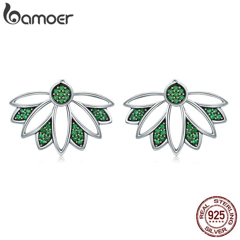 BAMOER 100% Real de Plata de Ley 925 Plata plata Árbol de la vida hojas verde CZ Stud pendientes para las mujeres de la joyería de la plata esterlina S925 SCE334