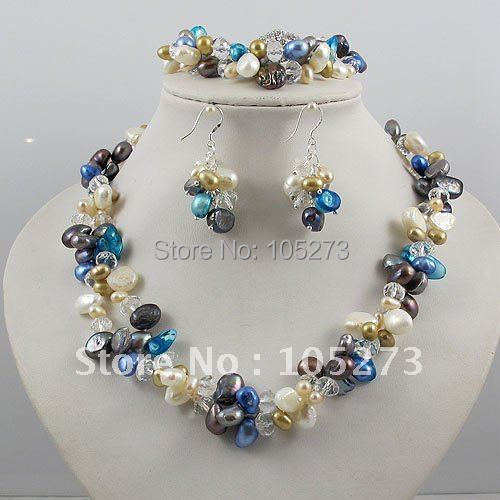 Wholesale!Pearl Jewelry Set 2Rows AA 4-10MM Multicolor Pearl&White Crystal Necklace Bracelet Earring Rhinestone Magnet Clasp все цены