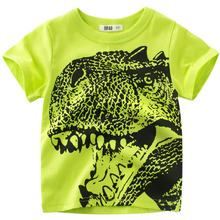 Boy T Shirt Dinosaur Print Summer Kids Short Sleeve Cartoon T-shirt for Girls Top Tees Cotton T Shirts 2-10 Years цена и фото