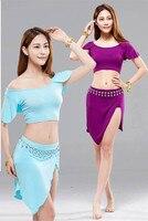 Nuevo 2017 sexy lady de Bollywood Indio Traje de la Danza Del Vientre Sexy Set Traje de la danza Del Vientre Traje de Sirena de La Falda corta Fijó 5 colores