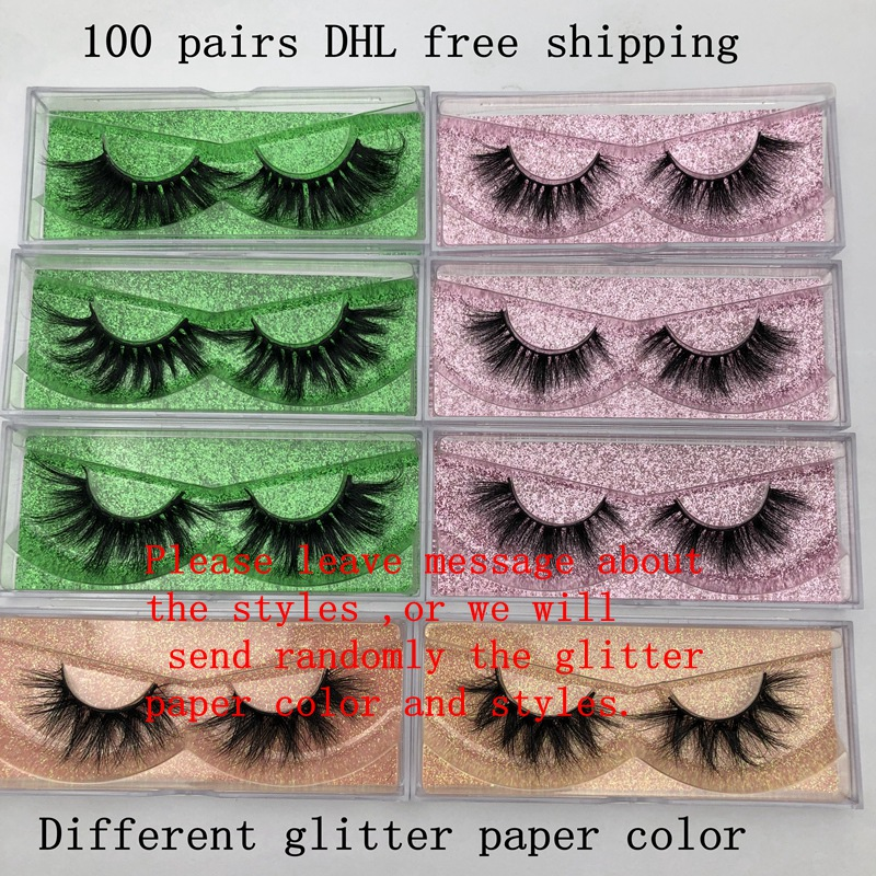 Wholesale Free UPS 100 Pairs Mikiwi Eyelashes 3D Mink Lashes Glittter Paper Case Custom Logo Packaging Dramatic Lashes