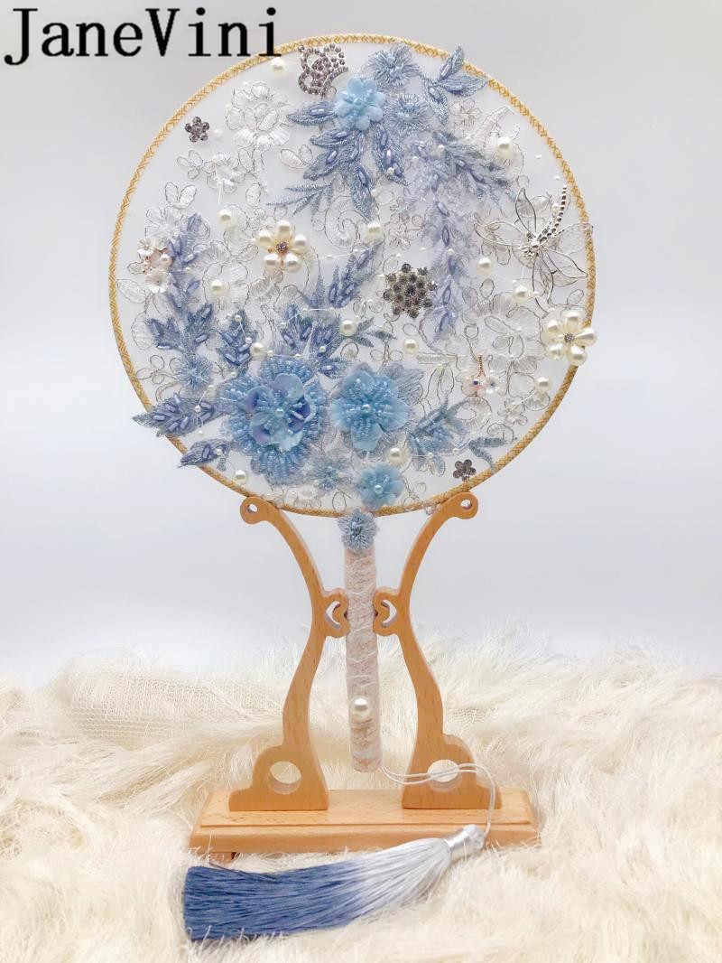 JaneVini 2019 Più Nuovo In Rilievo Da Sposa Spilla Bouquet Fan Blu Viola Cristalli Perle di Fiori Di Lusso Dei Monili di Cerimonia Nuziale Della Sposa Mazzi di Fiori