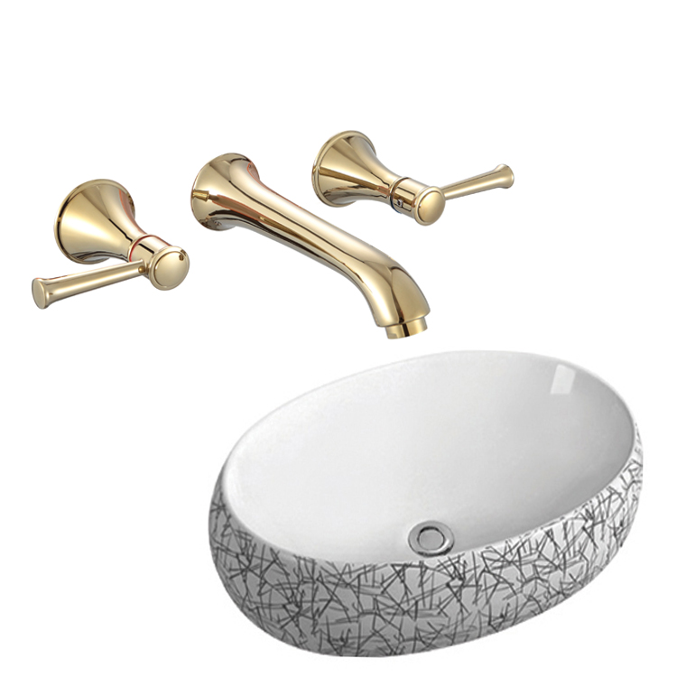 Golden full copper dark pack dark pack box into wall bathroom bathroom basin face basin cold hot water dragon