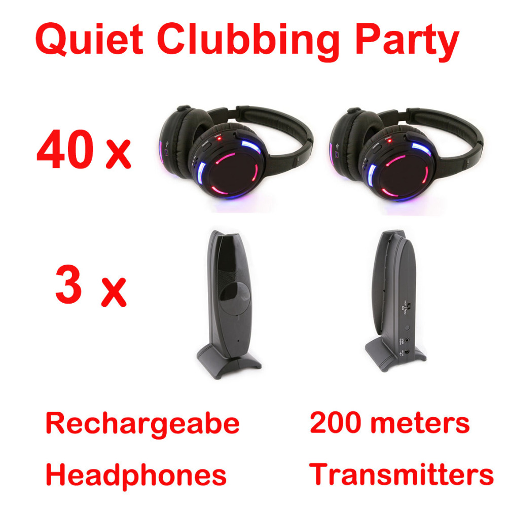 Silent Disco complete system black led wireless headphones - Quiet Clubbing Party Bundle (40 Headphones + 3 Transmitters)