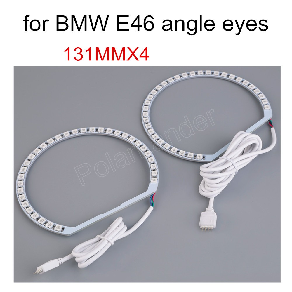 4*131 Mm Led Voor Bmw E36 E38 E39 E46 Halo Ring Angel Eyes Rgb Afstandsbediening