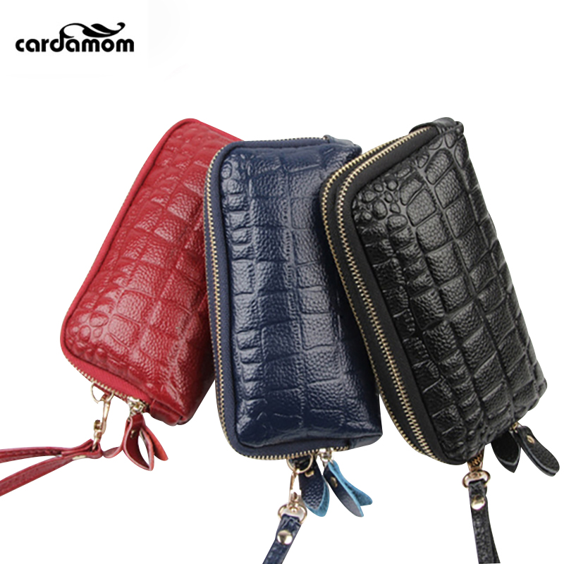Cardamom Genuine Leather Women Coin Purses Solid Double Zipper Wallet Large Capacity Cowhide Coin Purse Phone Bag cardamom cowhide genuine leather handbag female solid double zipper wallet women large capacity coin small bag purse phone bag