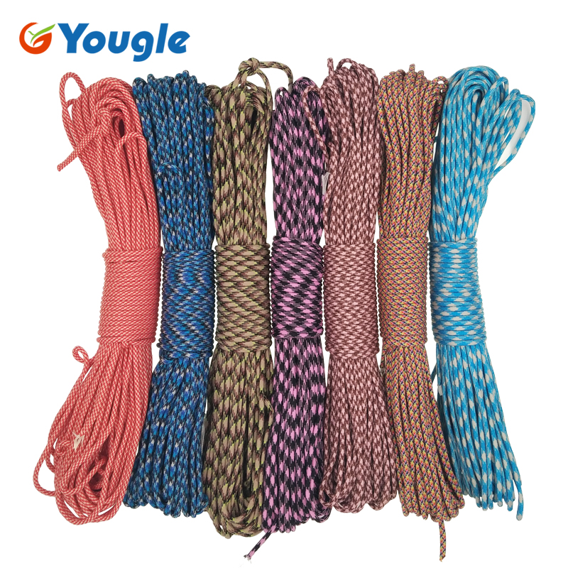 YOUGLE Paracord 550 100FT 50FT Paracord Rope Mil Spec Type III 7Strand Paracorde 550 Survival Kit Equipment Wholesale 74-80