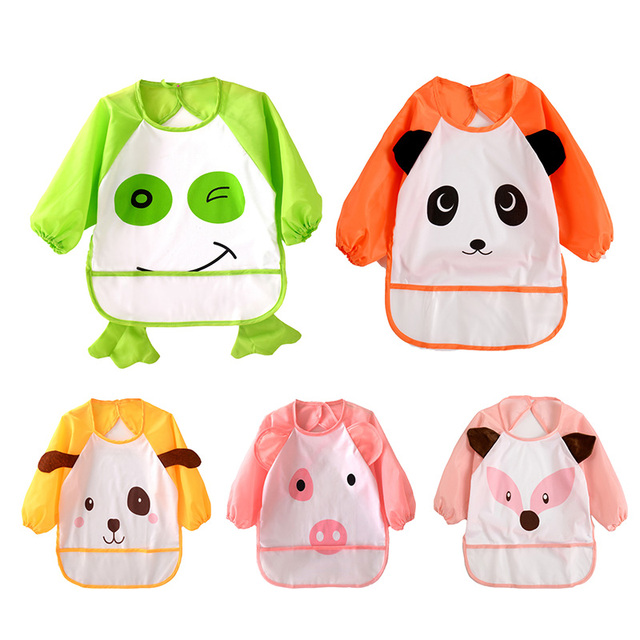 2019 Cute Cartoon Animals Baby Bibs Long Sleeve Apron Smock Soft Feeding Waterproof Colorful Children Bib Burp Clothes