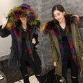Fandy Lokar Perro Mapache Cuello de Piel Con Capucha Parkas Abrigos de Piel lining desmontable de piel de zorro chaqueta de invierno abrigo de piel auténtica de mujeres
