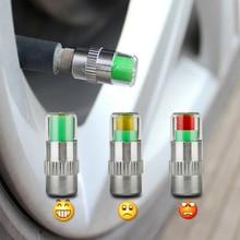 ФОТО car styling 4pcs 2.2bar 32psi car tyre tire pressure valve stem caps sensor 3 color eye air alert tire pressure monitoring cap