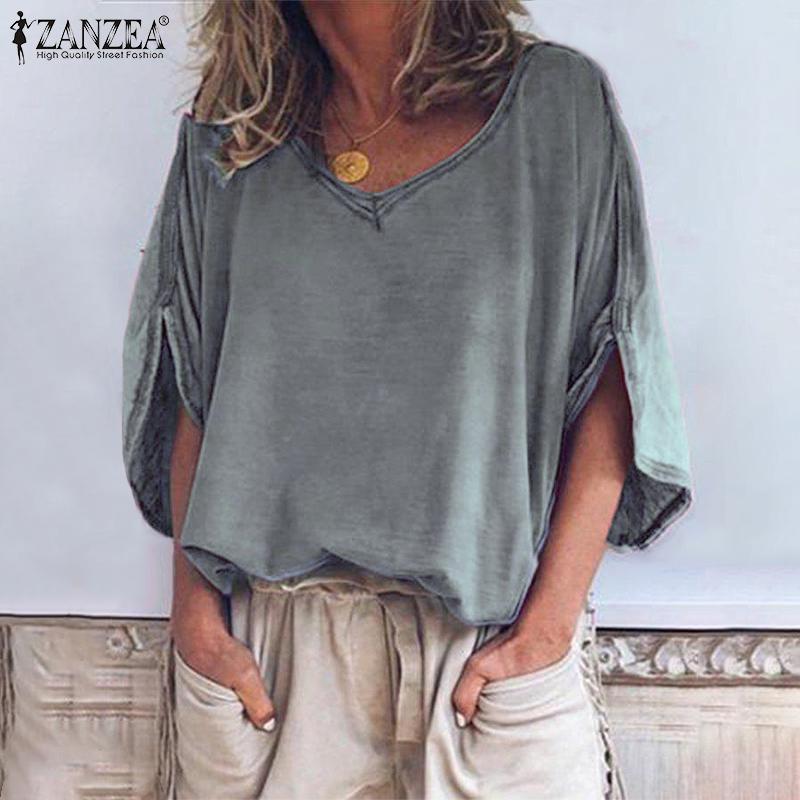 Fashion Summer Half Sleeve Blouse 2020 ZANZEA Women V Neck Solid Shirt Casual Loose Tunic Tops Robe Femme Blusas Femininas 5XL