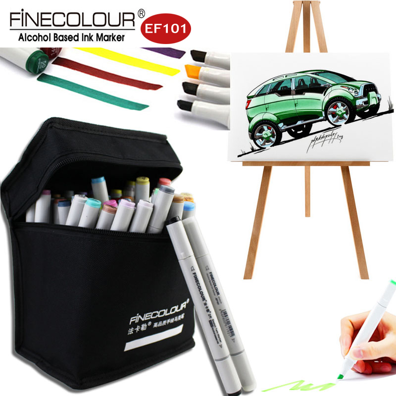 Finecolour EF101 Student/General Art Marker Alcohol Pen Set Graphic Double Line Manga Markers Sketch for Drawing Sketchbooks sketch color marker pen finecolour architecture alcohol based art markers 36 48 60 72 colors set manga marker for drawing