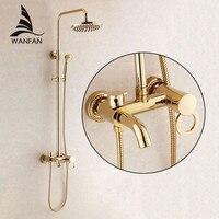 Shower Faucets Gold Brass Bathroom Shower Mixer Tap Faucet Set Rain Shower Head Round Wall Mounted Bathtub Faucet HJ 1065K B