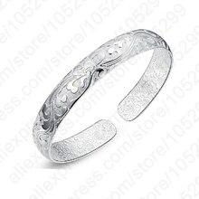 JEXXI  Hot Sale 925 Sterling Silver Flower Printing Bracelets Bangles Friendship Bangles Newest Style