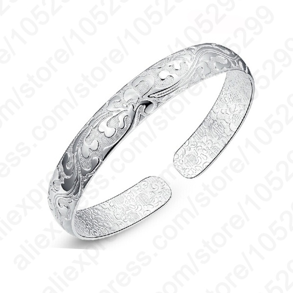 JEXXI  Hot Sale 925 Sterling Silver Flower Printing Bracelets Bangles Friendship Bangles Newest Style