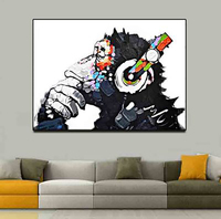 Hand Painted Oil Painting Happy Orangutan Frameless Decorative Painting On Canvas For Living Room Adornment Picture