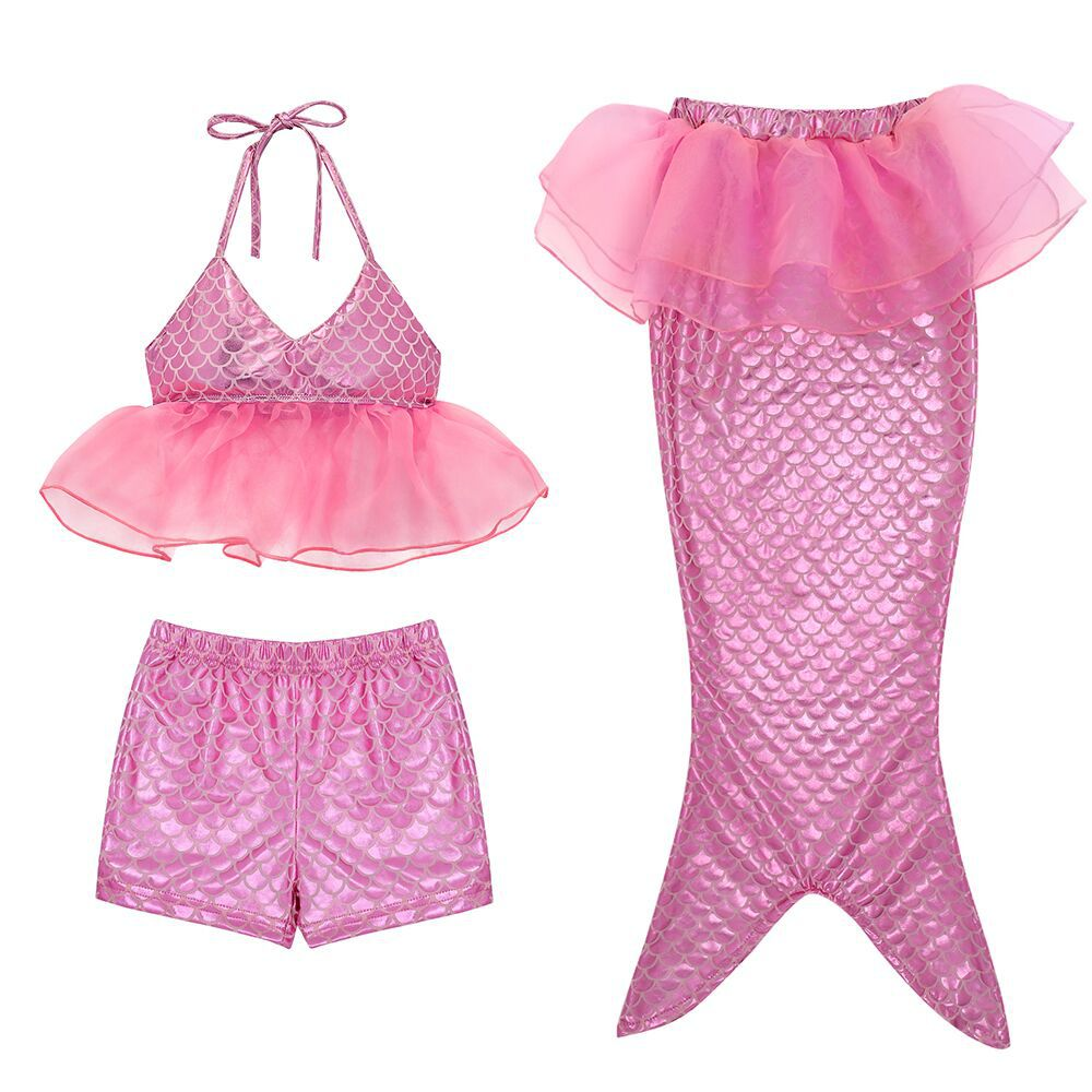 Little Ariel Princess Mermaid Tail For Swimming Costume 3 Pieces Swimmable Mermaid Tail For Girls Bikini Swimsuit