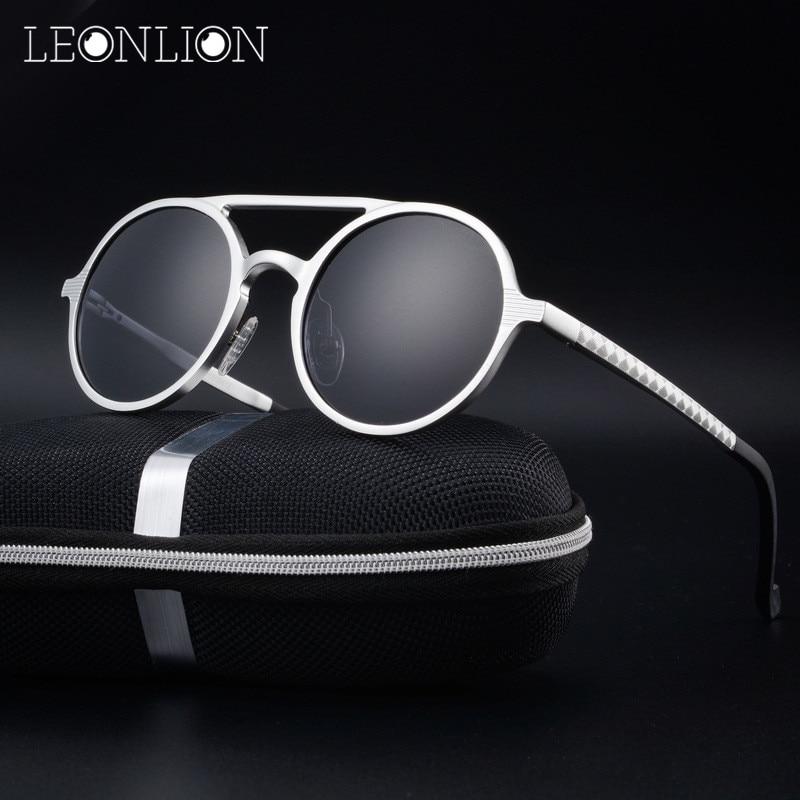 LeonLion Round Aluminum Magnesium Polarized Sunglasses Men Brand Design UV400 Classic Retro Metal Sun Glasses Outdoor Glasses brand aluminum magnesium men s sun glasses polarized mirror lens outdoor eyewear accessories sunglasses for men