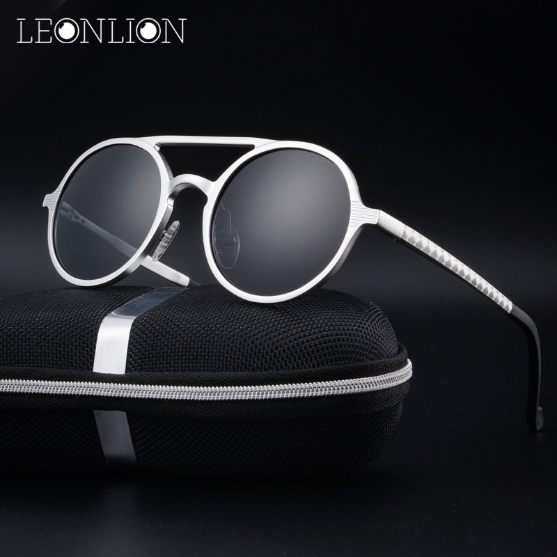 LeonLion Round Aluminum Magnesium Polarized Sunglasses Men Brand Design UV Classic Retro