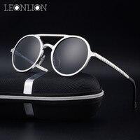 LeonLion Round Aluminum Magnesium Polarized Sunglasses Men Brand Design UV400 Classic Retro Metal Sun Glasses Outdoor Glasses
