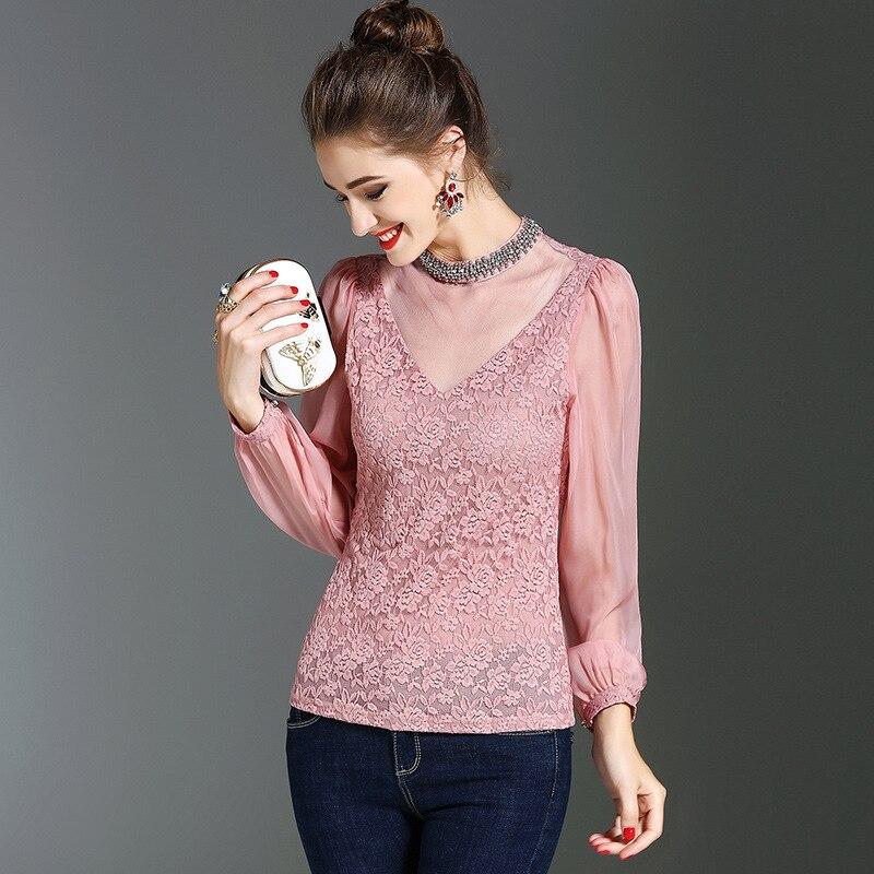Mode Noir Col Nouveau De Automne Hiver Chemise Sous 2017 Patchwork T Vente Perles Sexy Femmes Montant Dentelle Chemises rose Maille Chaude Mince Femelle 1wq7W50