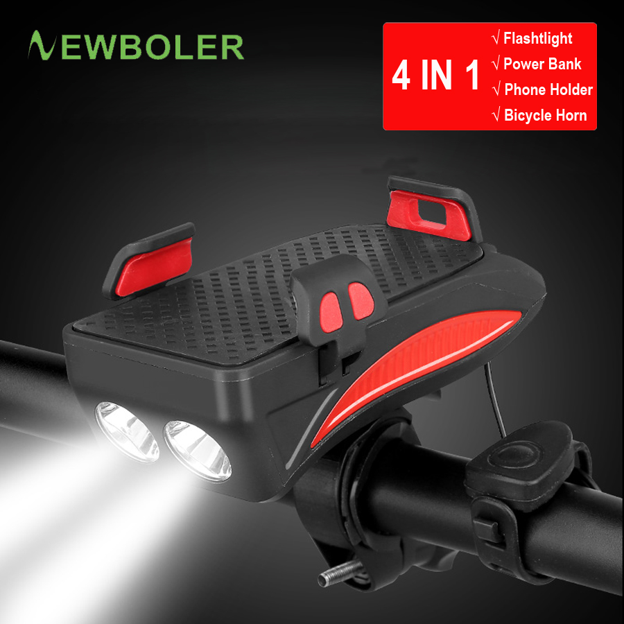 Clearance NEWBOLER 4 in 1 Bicycle Light Power Bank 4000mAh Flashlight Bike Horn Alarm Bell Phone Holder Bike Accessories Cycle Front Light 0